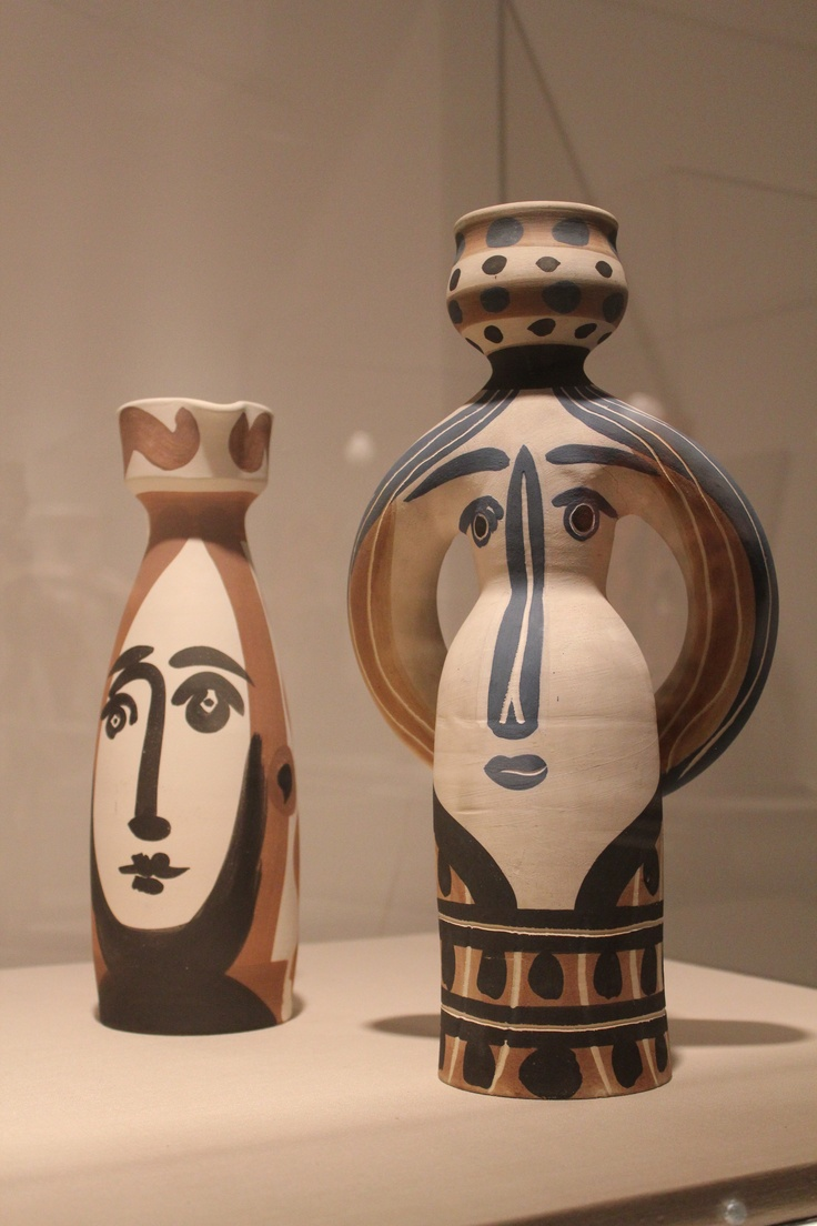 """Face"" and ""Woman Lamp"" 1955 Pablo Picasso, turned vase, white earthenware clay, decoration in engobes, glaze inside (on display at the Fort Lauderdale Museum of Art)"