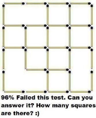 96% das pessoas falharam neste teste, você pode responder isso? Quantos quadrados existem?