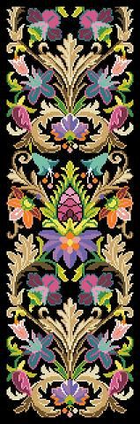 Antique Tapestry Pattern The Medici Fender-Stool Ornament Bell Pull Tapestry Multicolor Counted Cross Stitch Pattern PDF