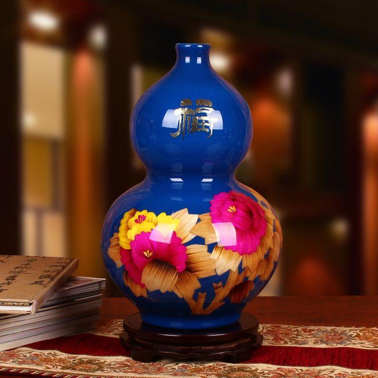 Jingdezhen cerámica fábrica venta al por mayor de paja azul peonía florero de la calabaza de la moda moderna artesanías de decoración(China (Mainland))