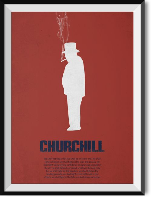 """Churchill """"Never surrender"""" quote poster"""