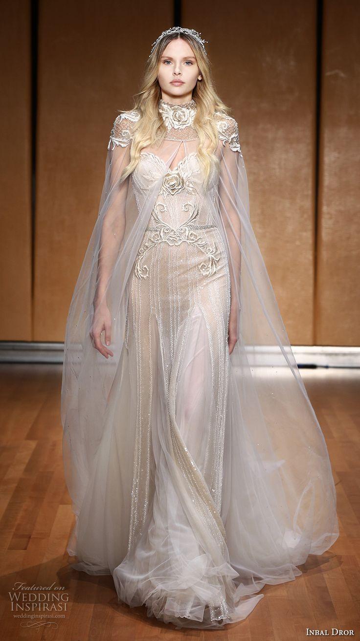 inbal dror 2017 bridal short sleeves high neck sweetheart neckline heavily embellished bodice glamorous elegant sheath wedding dress with sheer cape chapel train (004) mv