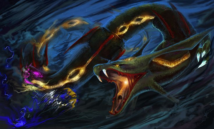 Final Battle by Konveekou.deviantart.com on @DeviantArt (Rayquaza, Eevee and Pikachu)