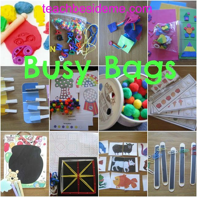 "Need some kid entertainment while traveling, sitting in the waiting room or at a restaurant? Check out these busy bag ideas that are not only fun, but also educational! (via ""Teach Beside Me"")"