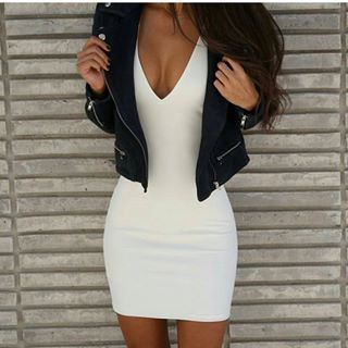 white dress + jacket = casual yet sorta sexy