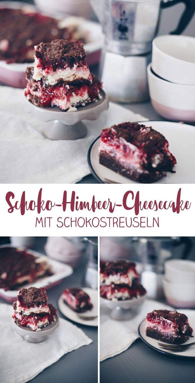 Schokoladen-Himbeer-Käsekuchen mit Schokostreuseln auf der Backplatte …   – Kreativfieber Backen – Kuchen, Cupcakes und Co.