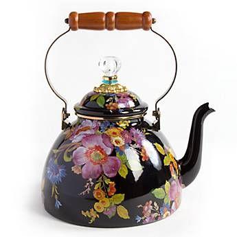 ♥•✿•♥•✿ڿڰۣ•♥•✿•♥ღڿڰۣ✿•♥•✿♥ღڿڰۣ✿•♥✿♥ღڿڰۣ✿•♥  MacKenzie-Childs - Flower Market Enamel 3 Quart Tea Kettle - Black  ♥•✿•♥•✿ڿڰۣ•♥•✿•♥ღڿڰۣ✿•♥•✿♥ღڿڰۣ✿•♥✿♥ღڿڰۣ✿•♥