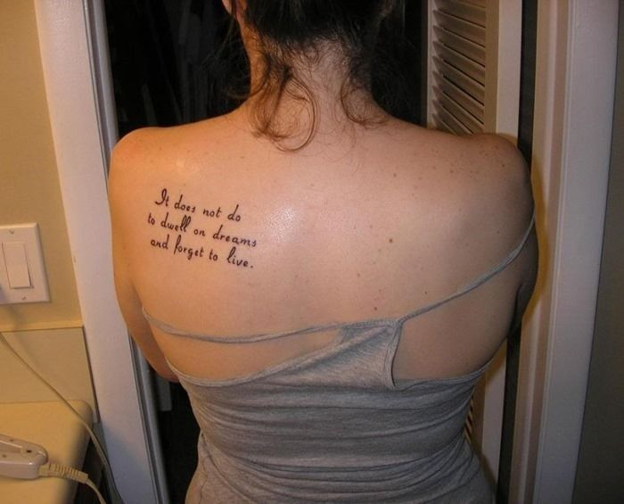 Back Shoulder Quotes Tattoos for Women