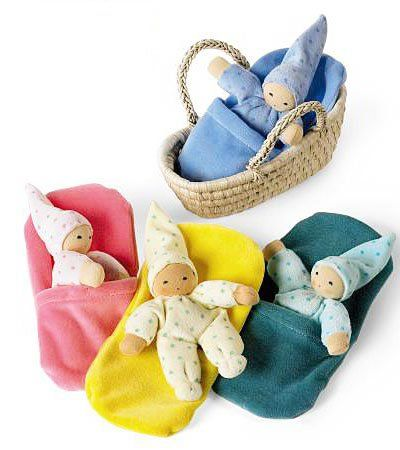 Sweet soft doll of natural fibers, comes with a little blanket pocket and a tiny moses basket. $29.98