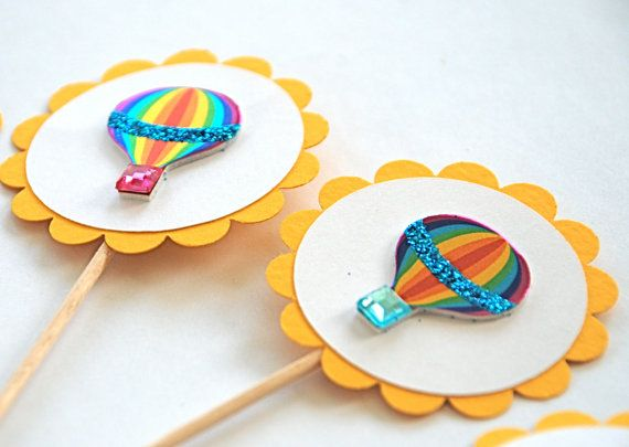 Blingin Hot Air Balloons  Cupcake Toppers by AForestFrolic on Etsy, $11.00
