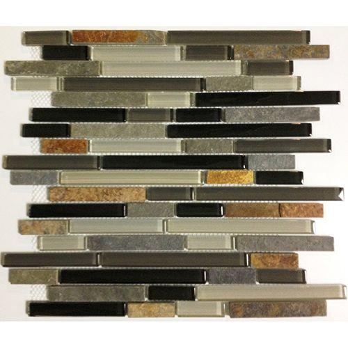 Kitchen Backsplash Accent Cool Earth Slate Glass Linear