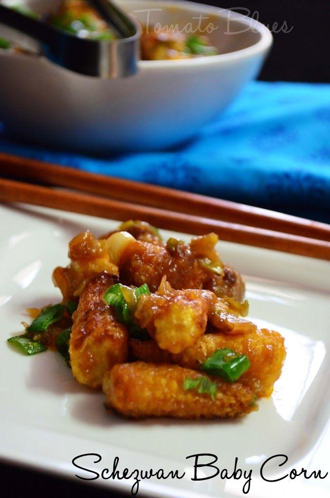 Schezwan Baby Corn Recipe | Easy Appetizer Recipes - Tomato Blues