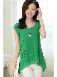 $ 17.79 New Summer Round Collar Hollow-out Casual Blouses