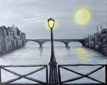 Bridge At Night - http://www.paintnite.com #PaintNite #Bridge #Black #Art #Painting