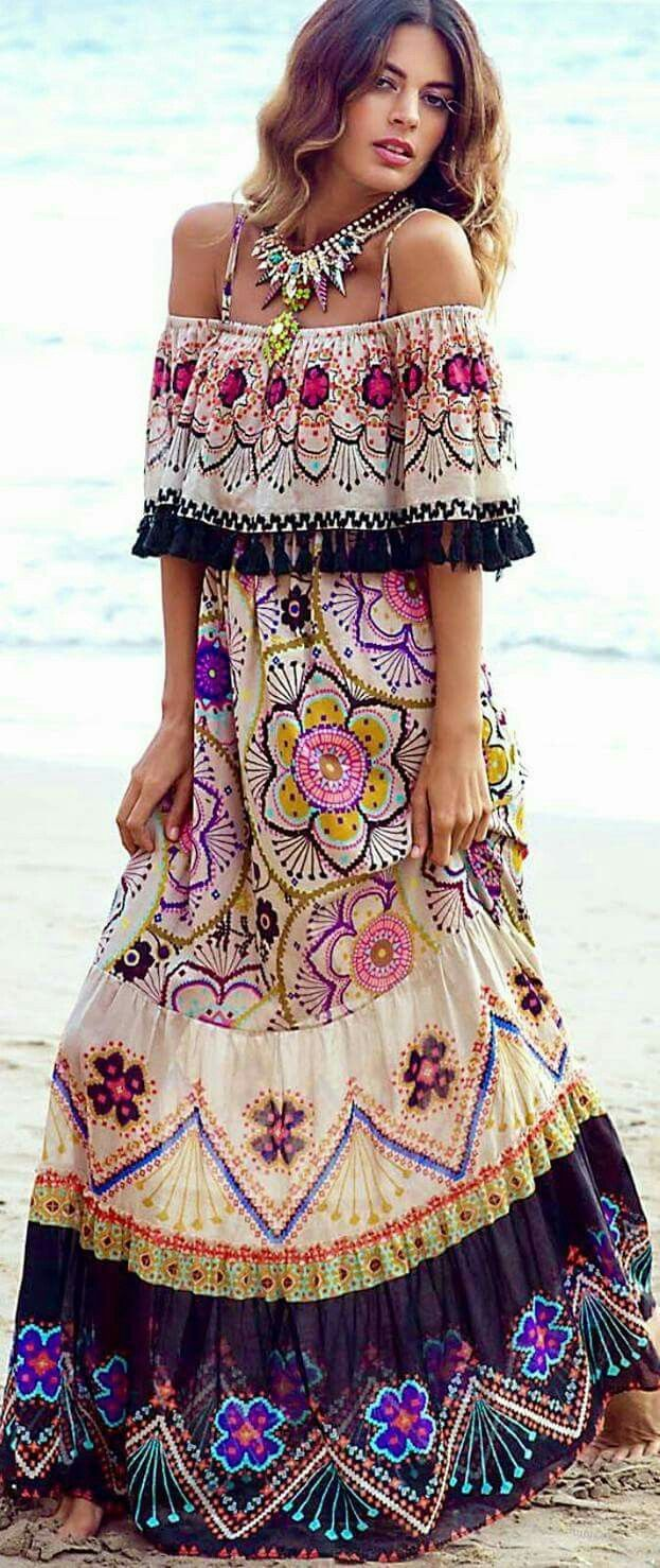 Mexican Multi Color Maxi Caftan Dress With Statement Necklace Casual Prom Outfit Pinterest