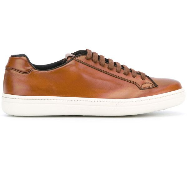 Church's lace-up sneakers ($390) ❤ liked on Polyvore featuring men's fashion, men's shoes, men's sneakers, brown, mens brown shoes, mens brown leather shoes, mens leather sneakers, mens lace up shoes and mens leather shoes