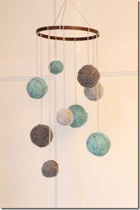 DIY Yarn Mobile with Easy Instructions - will have to do some of this with the yarn I just inherited from my grandmother.