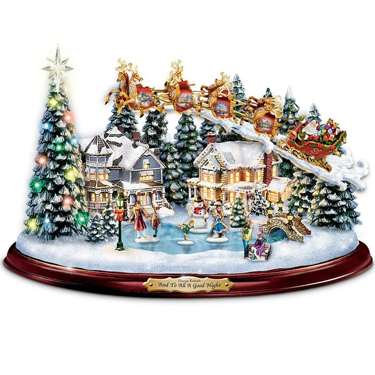 Christmas Musical Scenes Ornaments Part - 18: Amazon.com - Thomas Kinkade And To All A Good Night Christmas Sculpture By  The