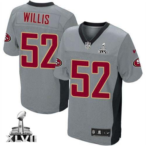 ... Lights Out Grey Nike 49ers 52 Patrick Willis Grey Shadow Youth Super  Bowl XLVII Embroidered NFL Elite Jersey. 2013 NEW ...