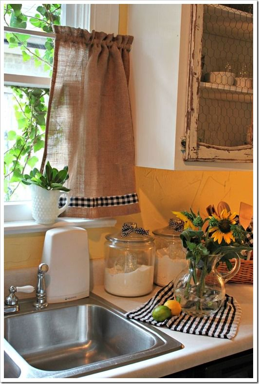 chicken wire cabinet doors - farmhouse style curtains   Andrea at Opulent Cottage shared her cute burlap and gingham curtains ...