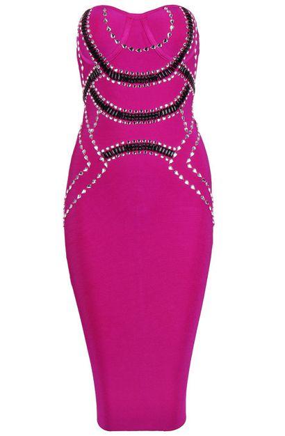 Embellished Bustier Midi Bandage Dress Pink - Bandage Dresses and Celebrity Inspired Fashion