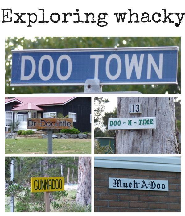Exploring whacky Doo Town, #Tasmania http://www.wheressharon.com/x-recent-posts/hanging-whacky-doo-town/ #FamilyTravel #DooTown #Tasmania