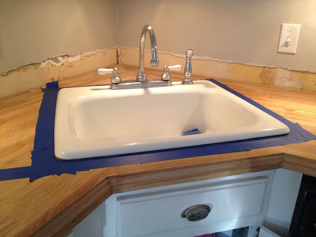 Corner Sink Countertop : Butcher block countertops with corner sink - like ours!!!! For the ...