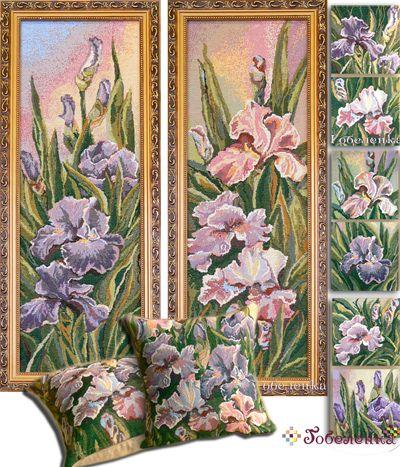 Гобелен комплект подарочный   Картина Розовый ирис (б. 2) 30х80 см  + картина Сиреневый ирис (б. 2) 30х80 см  + 2 чехла 38х38 см+ набор салфеток 25х25 см