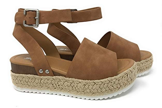 Womens Casual Espadrilles Trim Rubber Sole Wedgess
