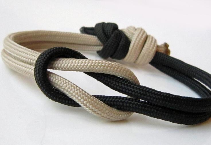 Square reef knot bracelet - Unisex love knot - Adustable paracord - Black Coal - Bread Tan - By Twilight Eyes Studio. $7.50, via Etsy.