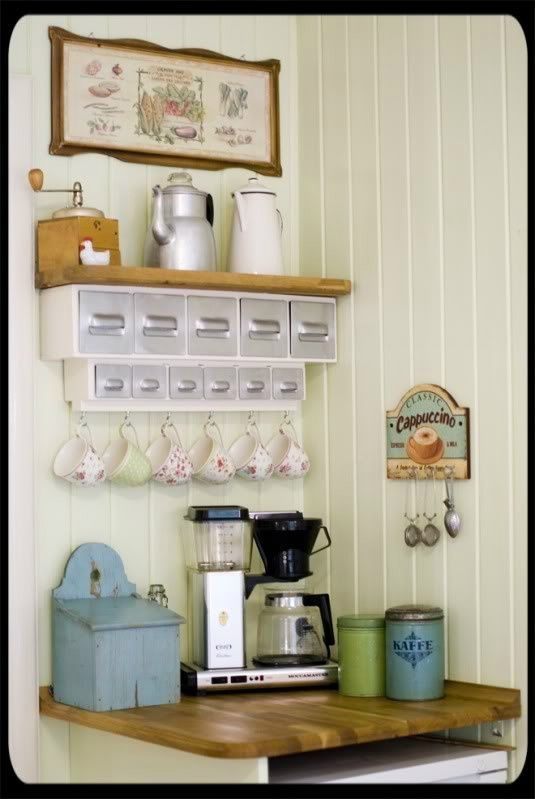 Coffee station - cute idea, takes up minimal space, easy for guests to help themselves! Description from pinterest.com. I searched for this on bing.com/images