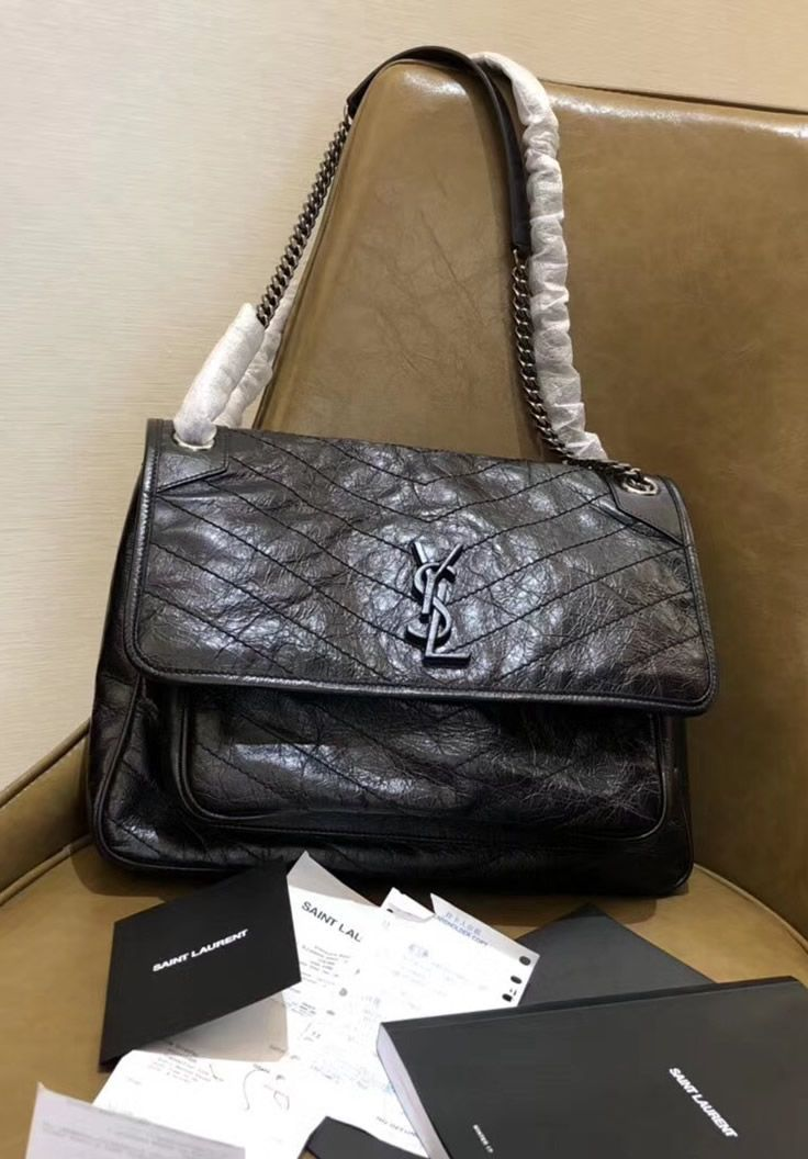 90aecc0a01156 Saint Laurent Large Niki Chain Bag in Crinkled and Quilted Black Leather