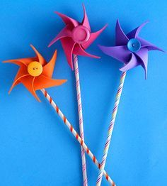 Catch the wind in these colorful foam pinwheels -- the perfect craft project for a breezy summer day.                 Make It: Cut a circle from a colorful foam sheet and trim six slits towards the center of the circle. Fold from the outside of the circle in and secure with a touch of glue. To embellish, thread wire through a bright button and attach to the pinwheel. Gently push wire through the back of the pinwheel and wrap it around a dowel wrapped with ribbon.