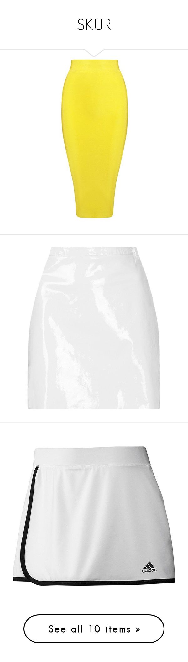 """SKUR"" by svndrv ❤ liked on Polyvore featuring skirts, bottoms, yellow, yellow pencil skirt, mesh skirt, white mesh skirt, pencil skirts, mesh pencil skirt, white and saias"