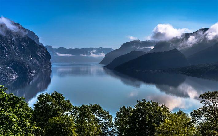 Download wallpapers Lysefjord, Norway, lake, summer, mountains, Europe