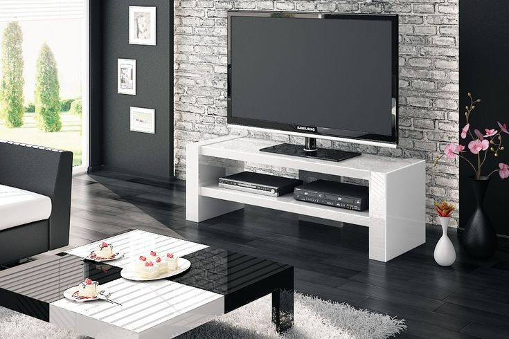 """Buy Davos 2 White Tv Cabinets! ThiscontileverWhite High Gloss tv cabinet, able to support flat panel televisions up to 63"""" screen."""