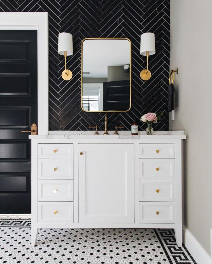 Jean Stoffer Design Bathroom vanity tile black