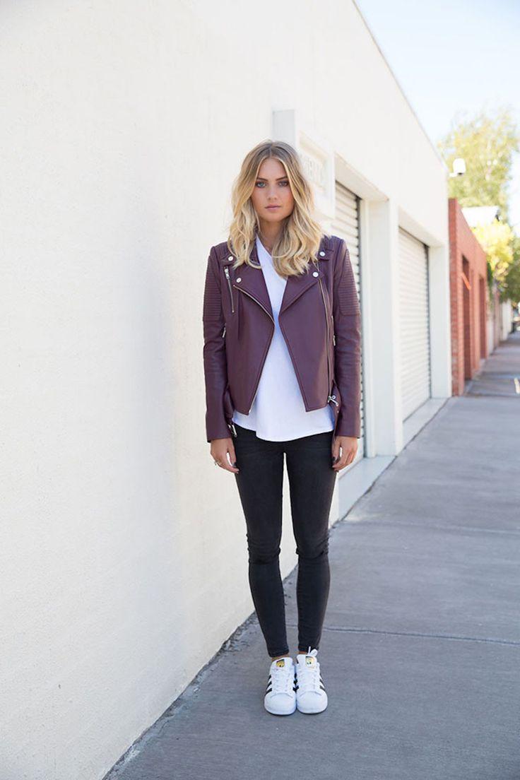 ENA PELLY - Leather Biker Jacket   Burgundy