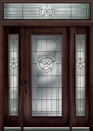 6001 Texas Star Door Shown: Texas Star Glass In Dark Mahogany Finish 6001  Door,