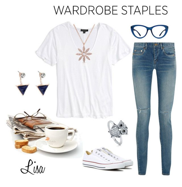 """Plain White Tee"" by coolmommy44 ❤ liked on Polyvore featuring Topshop, Yves Saint Laurent, Converse, BERRICLE, Oasis, Anne Sisteron, WardrobeStaple and polyvorecontest"