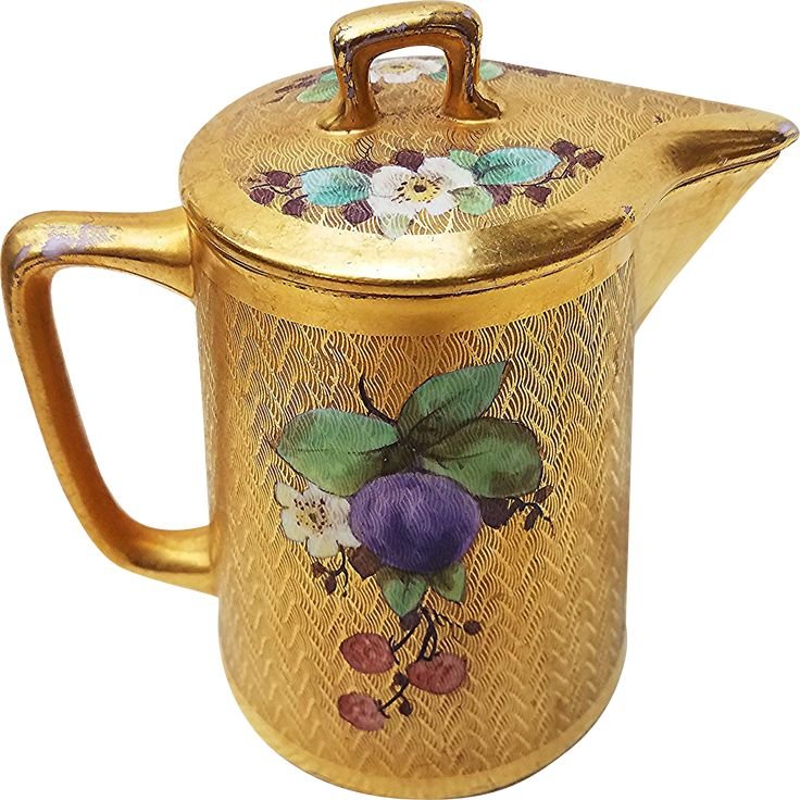 "Gorgeous Pickard Studio of Chicago 1912 Hand Painted ""Red Raspberries & Plums"" 5-5/8"" Fruit Decor Tea Pot"