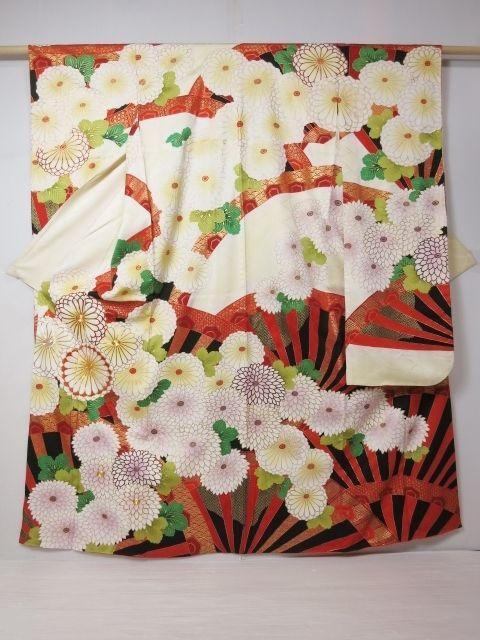 2910C02z1060 Japanese Kimono Silk FURISODE Lihgt yellow Chrysanthemum