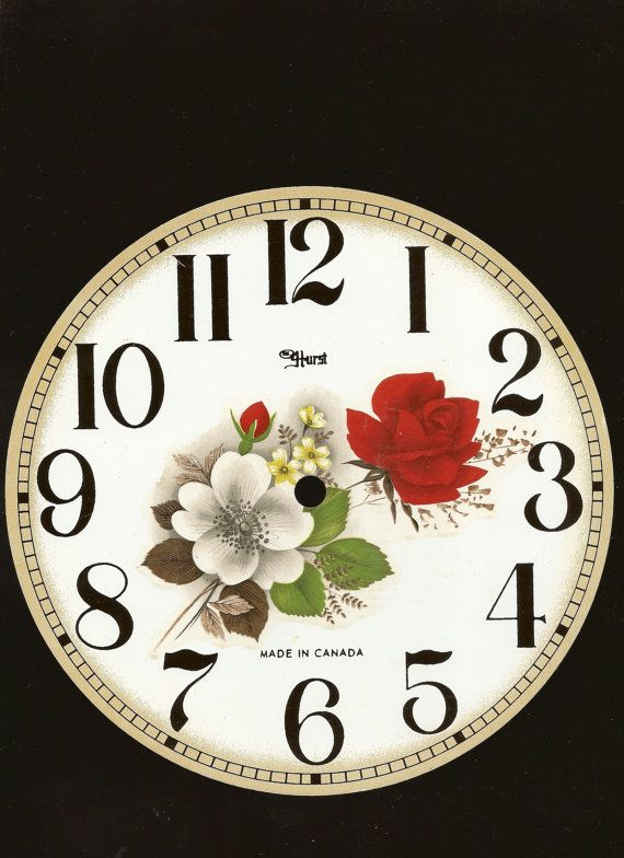 Floral Metal Clock Face 8 Inch Red and White by Farmhouseattic