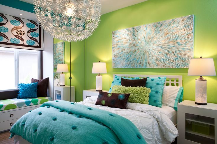 F : Astounding Lime Green Paint Accent Bedroom Wall Design With Cool Artistic Wall Painting And Twin Size Beds Be Equipped Beautiful Comforters Sets Plus ...