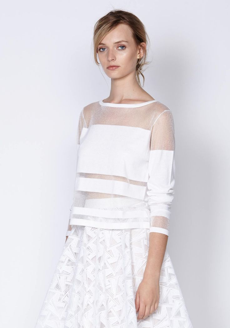 Linear Shadow Knit In White | New In | Shop the latest women's fashion at Oncewas