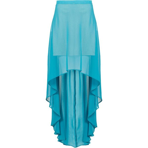 Turquoise Dip Back Maxi Skirt (€37) ❤ liked on Polyvore featuring skirts, bottoms, saias, faldas, turquoise, high-low skirt, turquoise skirt, long blue skirt, ankle length skirts and short in front long in back skirt