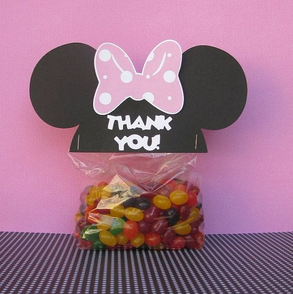 Minnie Mouse Ears Treat & Party Favor Thank You Goodie Bags Toppers Set of 12…
