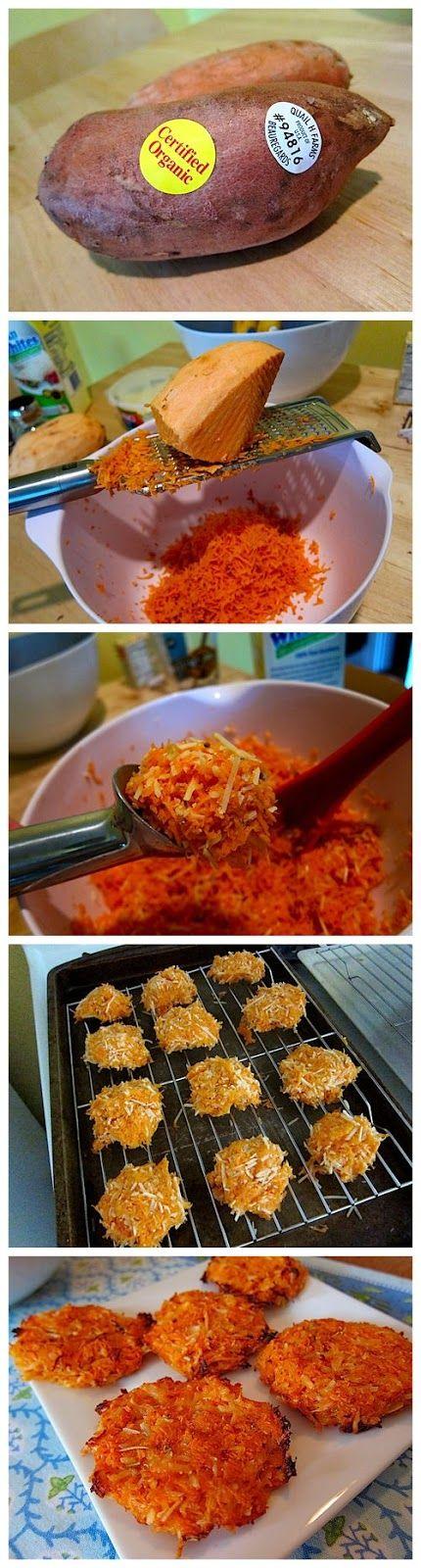 Cheesy Sweet Potato Crisps...like sweet potato hashbrowns. No oil!