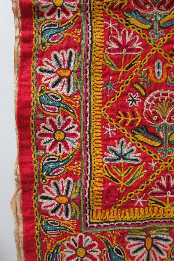 Vintage Kazakh Embroidery Birds Flowers Tribal Embroidered Panel Kazakhstan via Etsy
