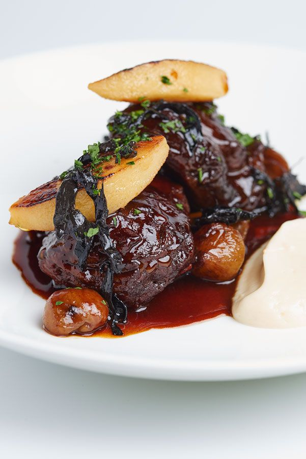 Daube of venison with quince and chestnuts by Galvin Brothers